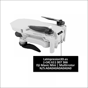 Dónde colocar la placa identificativa en drone Dji Mavic Mini