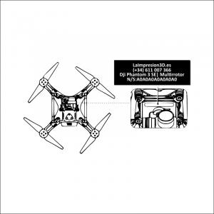 Dónde colocar la placa identificativa en drone Dji Phantom 3 SE