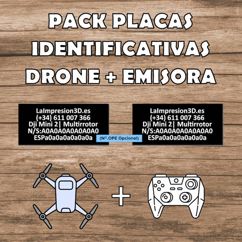 Pack placas identificativas para drones Normativa Europea