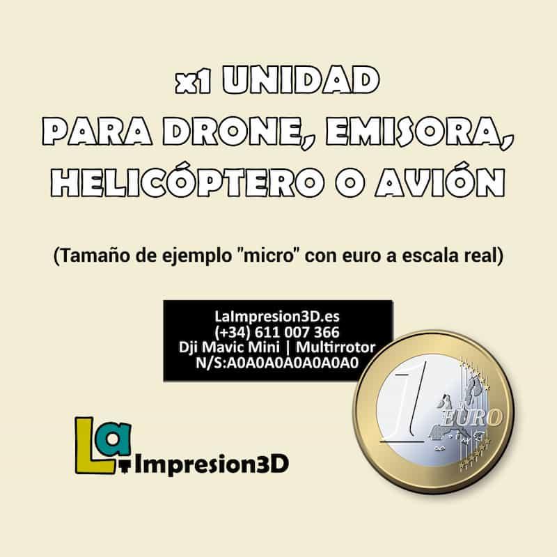Placa identificativa para drone de carreras o emisora